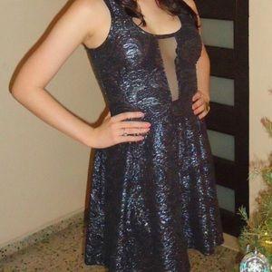 Black and Metallic Grey Dress